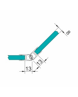 Dichtprofil für 6 und 8mm Glas, Magnetschienenset 135°, 2010mm