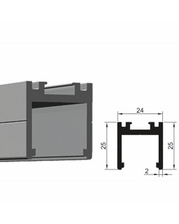 Trockenverglasungsprofil, 6000mm, Schwarz eloxiert C35