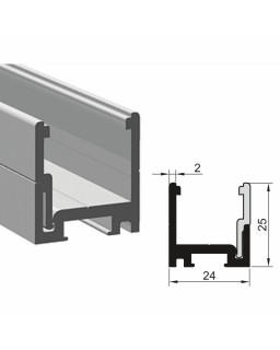Trockenverglasungsklips-und Klipsleistenprofil, 6000mm, Edelstahleffekt