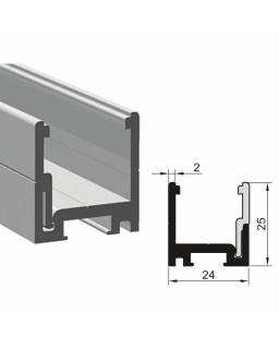 Trockenverglasungsklips-und Klipsleistenprofil, 6000mm, Schwarz eloxiert C35