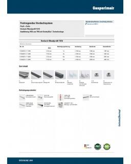 P+S Freitragendes Vordachsystem, Vordach Wandprofil Kombinationsets 1510, Breite 1800mm