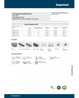 P+S Freitragendes Vordachsystem, Vordach Wandprofil Kombinationsets 1510, Breite 2500mm